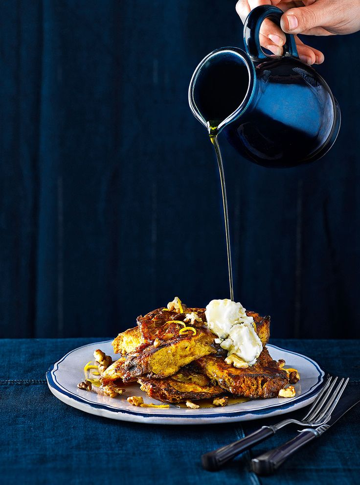 Use up leftover panettone to make this french toast with maple syrup, mascarpone and walnuts recipe. A decadent brunch or comforting dessert.