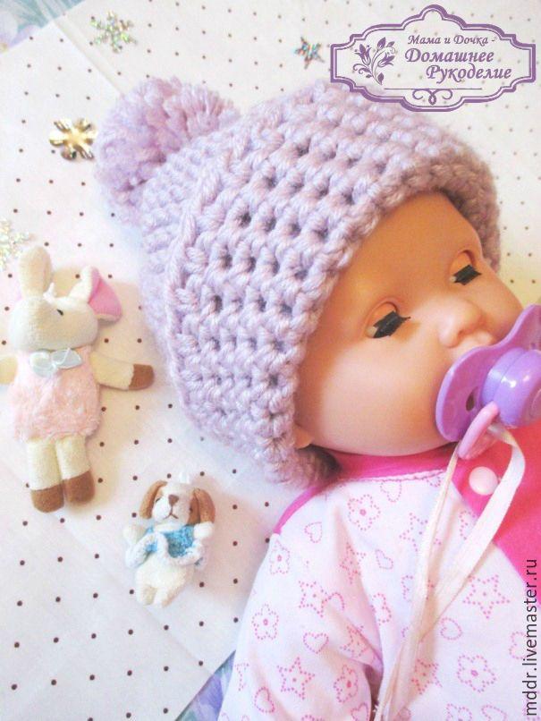 Купить Вязаная шапочка для малыша - бледно-сиреневый, шапка, шапка вязаная, шапка детская