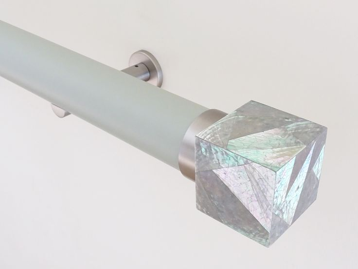 50mm Matt Lacquered pole in 'dove' with Riva cube finial 'Abalone'