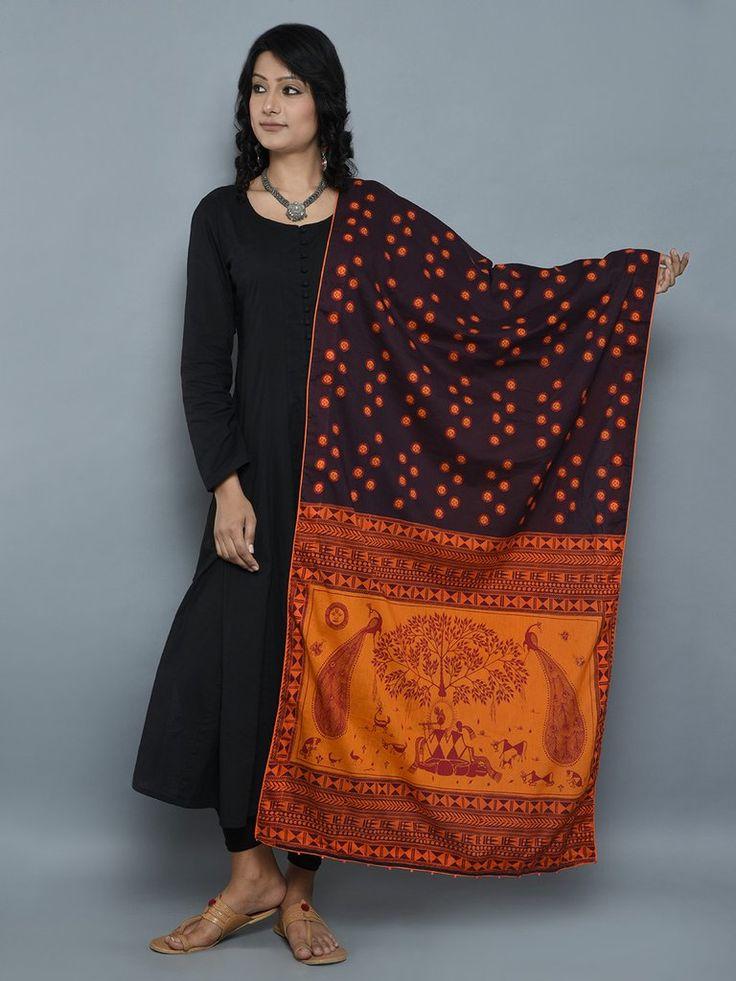 Brown Orange Earthy Soul Cambric Cotton Dupatta