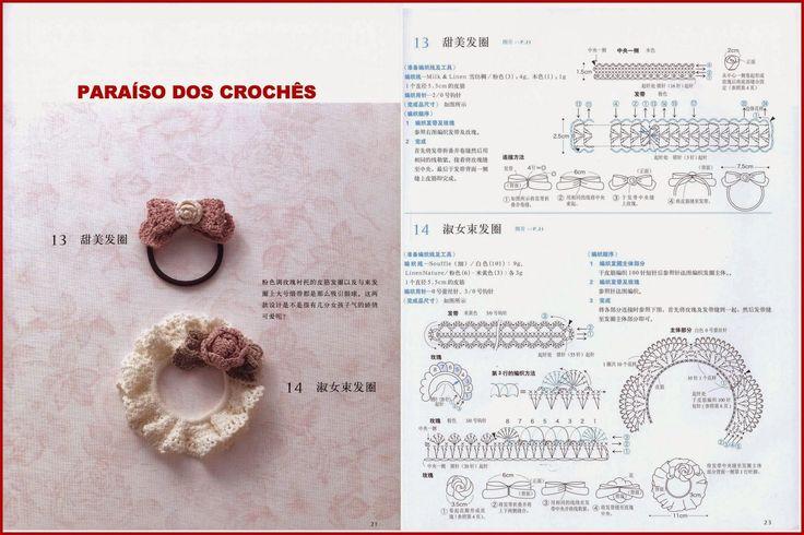 Acessórios de crochê com rosas.