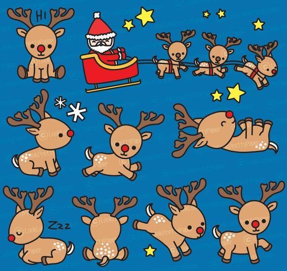 Premium Vector Clipart Kawaii Rudolph The Red Nosed Reindeer Cute Reindeer Clipart Set High Quality Vectors Kawaii Christmas Clipart Kawaii Christmas Reindeer Drawing Christmas Drawing