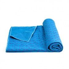 "Mansov Yoga Mat Towel 72""x24″ Blue Long Perfect Size Super Premium Sweat Absorbent Bikram Hot Yoga Towels Ideal for Hot Yoga, Fitness, Exercise With Carrying Mesh Bag Machine Washable"