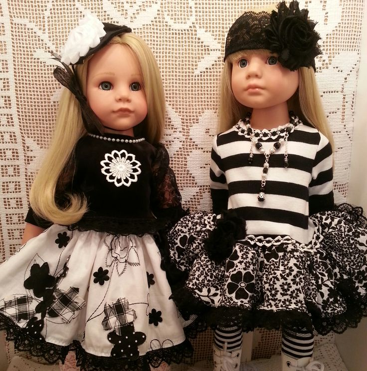 Hannah & Katie Happy Kidz showing off my new Black&White sets - currently for sale (not the dolls). Find Sally Channon on Facebook UK and also Salstuff on Ebay.