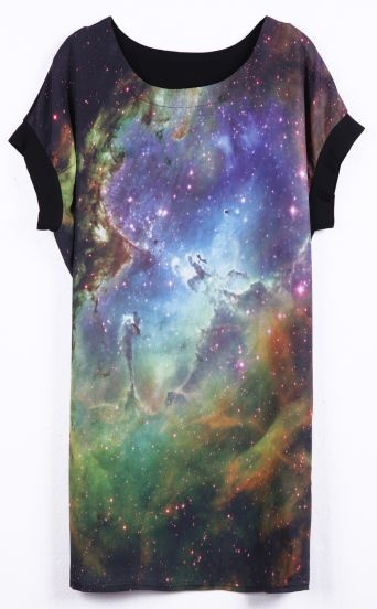 Yellow Short Sleeve Galaxy Print Contrast Chiffon T-Shirt