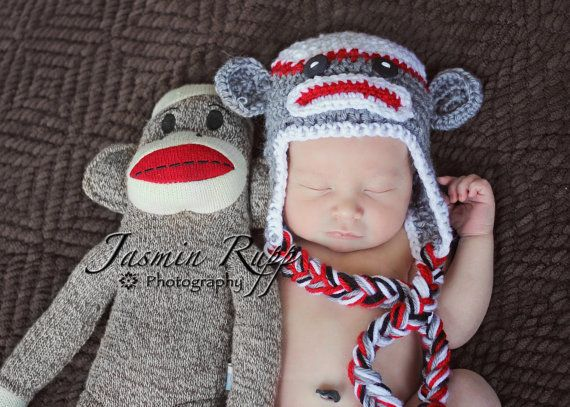 Newborn Sock Monkey Hat with Earflaps and Ties by boykrazie, $20.00