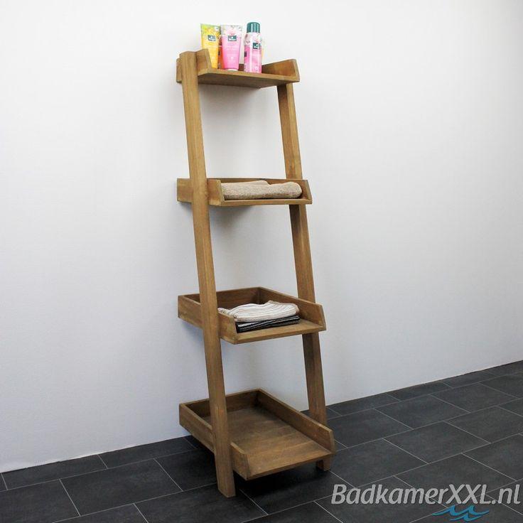 Deze decoratie ladder met planken is van teak gemaakt maar speciaal behandeld tegen vocht - Zen toilet decoratie ...