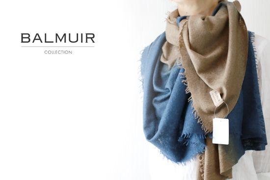 BALMUIR(バルミュール)カシミア大判ストール「Helsinki cashmere Twin scarf」(Light Brown×Dark Denim)