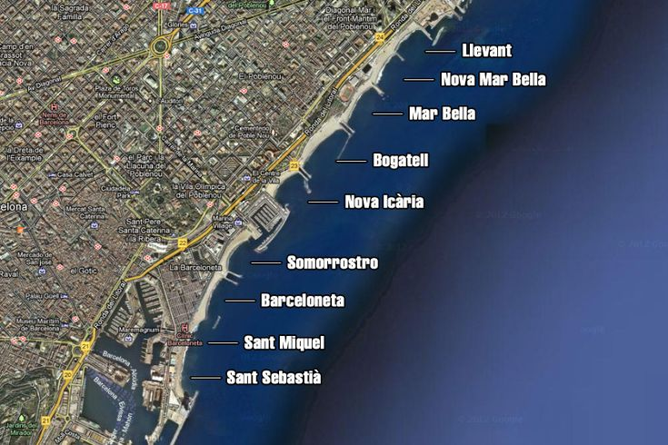 Mapa Playas de Barcelona Map of the beaches in Barcelona   #summer #beaches #barcelona #bcn #beach #sun #holiday #sea #sand