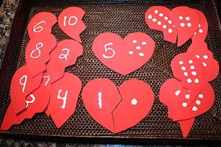 80feea8087a2e5e0fb887d1cfa06c8e9 tot trays preschool math - Mend these broken hearts by finding the matching numbers.