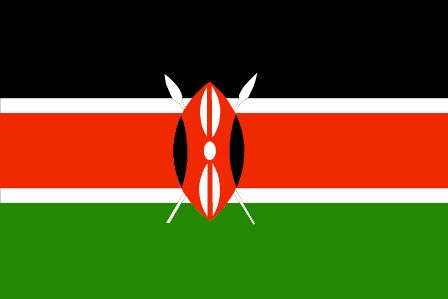 The Kenya flag was officially adopted on December 12, 1963. The black is said to represent the Kenyan people; red symbolizes the blood they spilled fighting colonialism; green the country's landscape and white means peace.           The traditional African shield is centered.