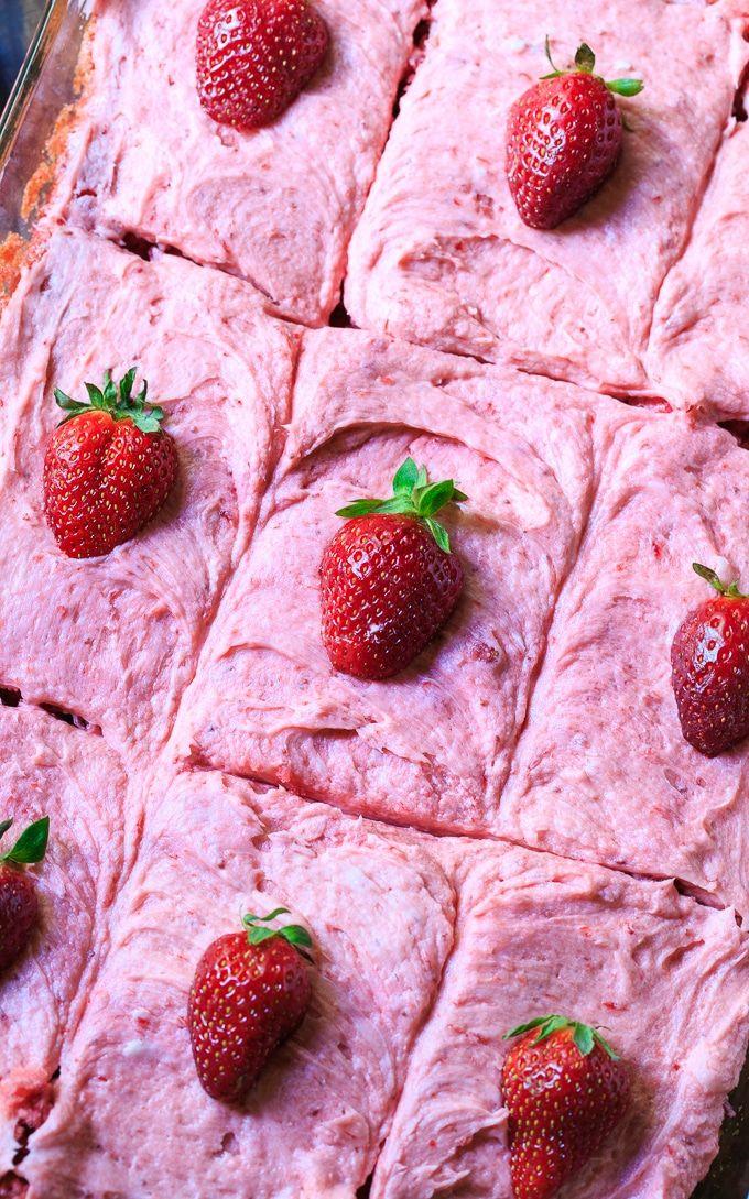 Strawberry Sheet Cake with fresh Strawberry Frosting