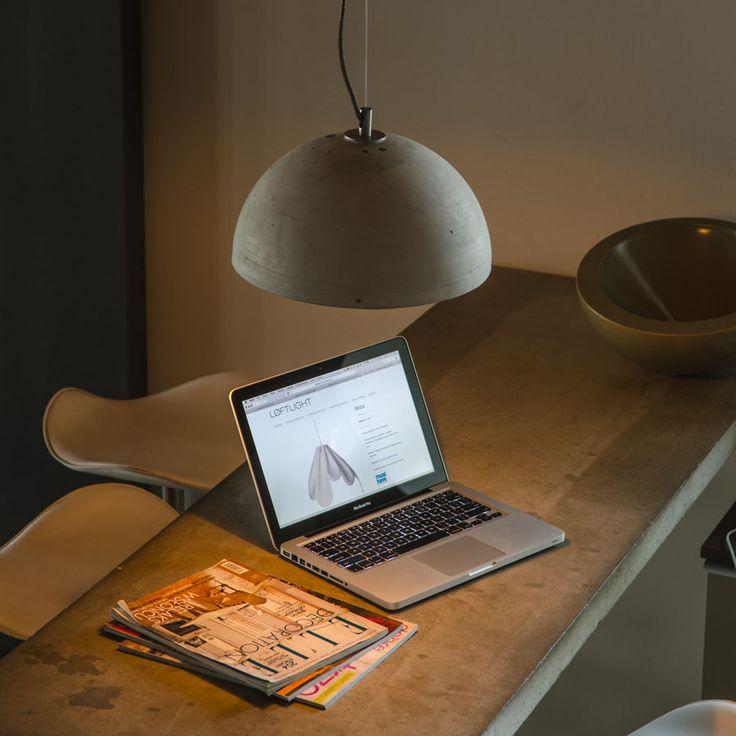 Concrete table + concrete lamp Sfera M