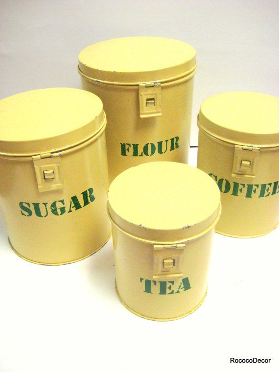 Reserved For Pele Yellow Kitchen Canisters Pale Yellow With Green Lettering Set Of Four