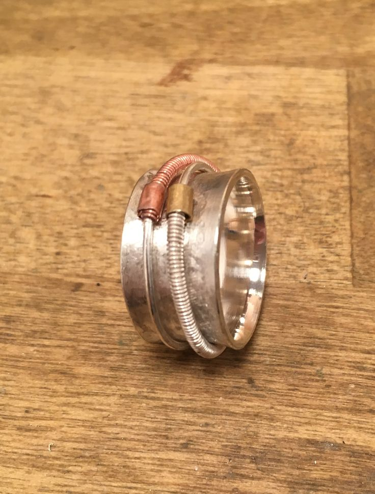 Silver ring with copper and brass wire