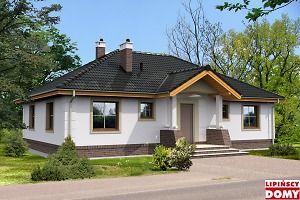 Niewielki dom parterowy, który dzięki funkcjonalnemu rozplanowaniu wnętrza gwarantuje wygodę mieszkańcom. Do ich dyspozycji jest wygodny pokój dzienny, z wyjściem na częściowo zadaszony taras, duża, półotwarta kuchnia z miejscem na stół, trzy ustawne sypialnie, łazienka oraz wc. Obok kuchni przewidziano spiżarkę, zaplanowano także pomieszczenie gospodarcze z kotłem gazowym. Bryła budynku jest prosta, dach także, dzięki czemu dom jest niedrogi w wykonaniu.