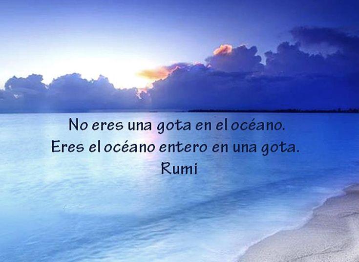 ... Rumi. No eres el océano en una gota. Eres el océano entero en una gota.