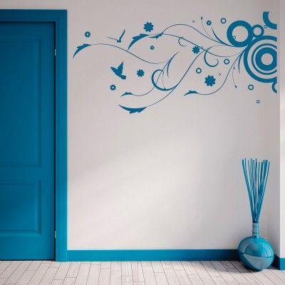 """Adesivo Murale - Disegno astratto con rami, uccelli e fiori.  Adesivo murale di alta qualità con pellicola opaca di facile installazione. Lo sticker si può applicare su qualsiasi superficie liscia: muro, vetro, legno e plastica.  L'adesivo murale """"Gioia Astratta"""" è ideale per decorare soggiorno, camera da letto e cucina. Adesivi Murali."""