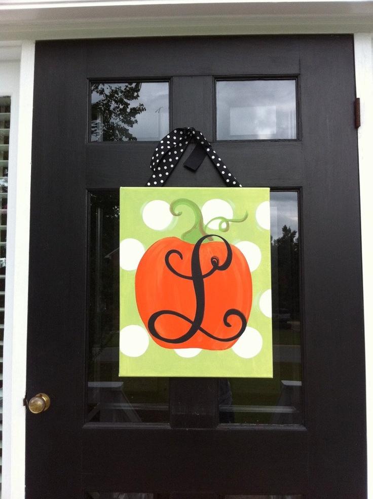 Monogrammed pumpkin by aubreylb on Etsy. Cute for classroom door!