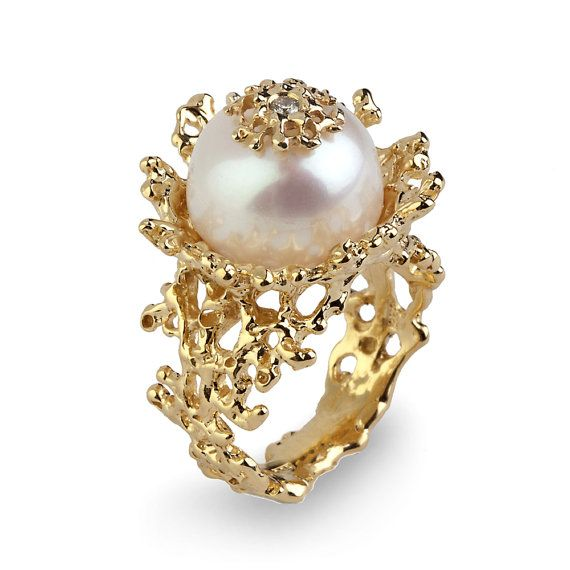 CORAL FLOWER Pearl Diamond Ring, Gold Pearl Diamond Engagament Ring by arosha