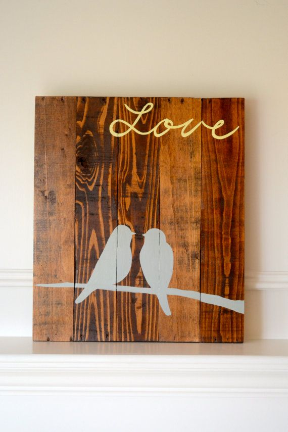 Reclaimed wood art sign: Two Birds on Branch Love