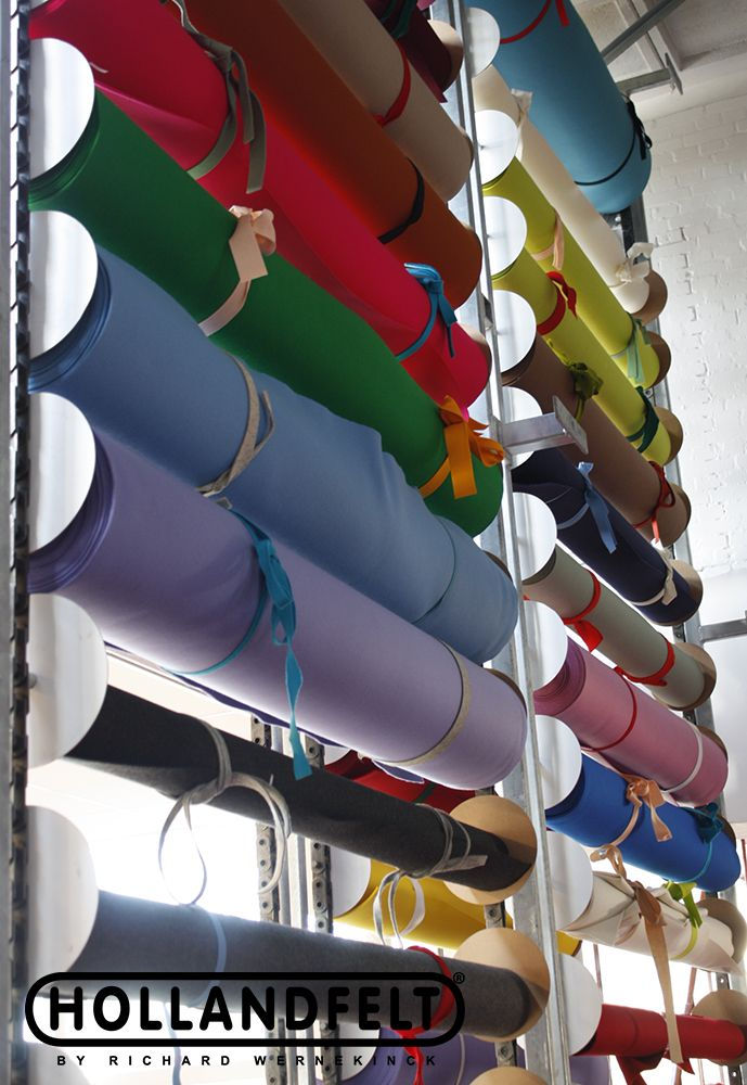 Woolfelt on rolls: 183 cm wide, 20 m long, 1,2,3 or 5 mm thick, and 90 different colours. http://www.hollandfelt.nl