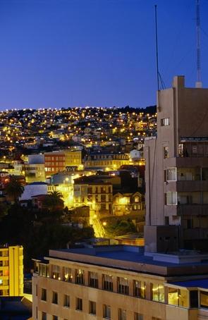 Buildings off Plaza Anibal Pinto from Cerro Concepcion.