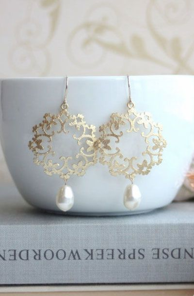 Lovely Clusters - Beautiful Shops: Gold Pearl Moroccan, Boho, Gypsy Filigree Earrings