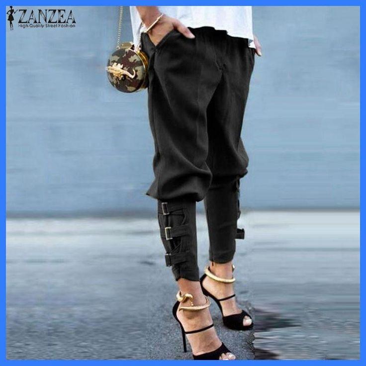 ZANZEA Women 2017 Summer Autumn Women Harem Pants Casual Loose Elastic Waist Long Pants Leisure Trousers Army Green Plus Size