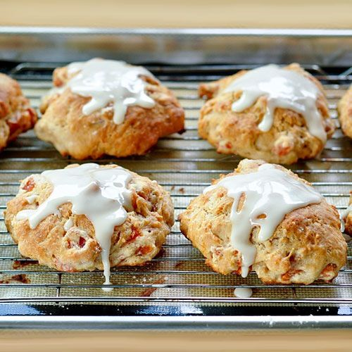 These scones are of my favorite nibbling variety. They can be eaten with your fingers, but won't get crumbs everywhere. They are sweet, but not too sweet, and have lots of chewy bits of apricot to savor. And yes, rest assured, they are perfect with coffee.