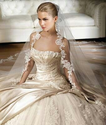Beautiful champagne coloured dress with delicate lace detail
