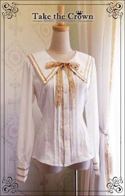 R-Series***Take The Crown***College Style Lolita White Blouse $87.99-Lolita Shirts - My Lolita Dress