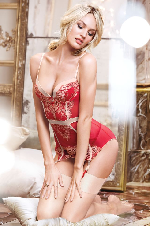 Candice on red-alert - Christmas lingerie -  Limited Edition Lace & Mesh Garter Slip - Very Sexy - Victoria's Secret