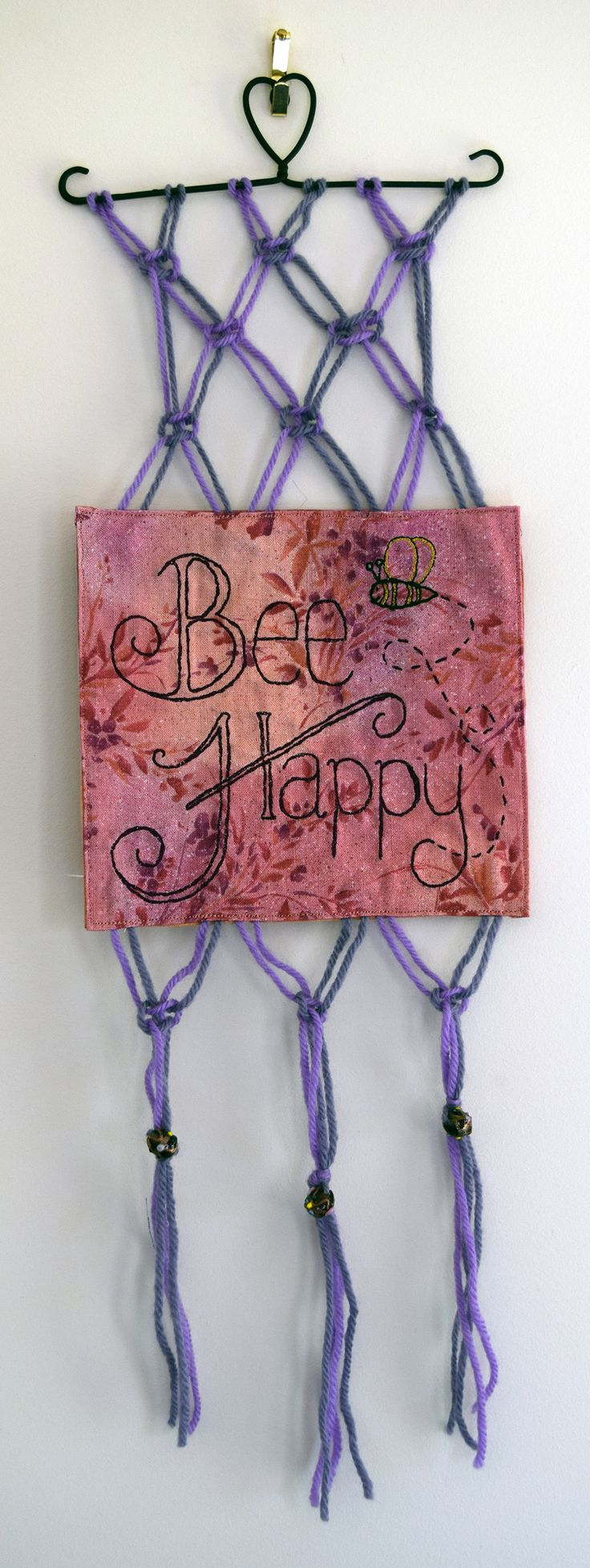 'Bee Happy' Wall Hanging - Handmade machine embroidery macrame wall hanging!  https://www.etsy.com/listing/243638068/bee-happy-handmade-machine-embroidery?ref=shop_home_active_5