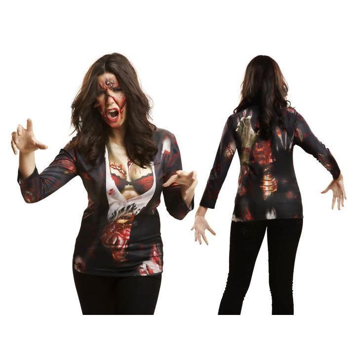 Camiseta disfraz zombie sexy para mujer