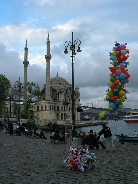 Sit in the square in Ortakoy.