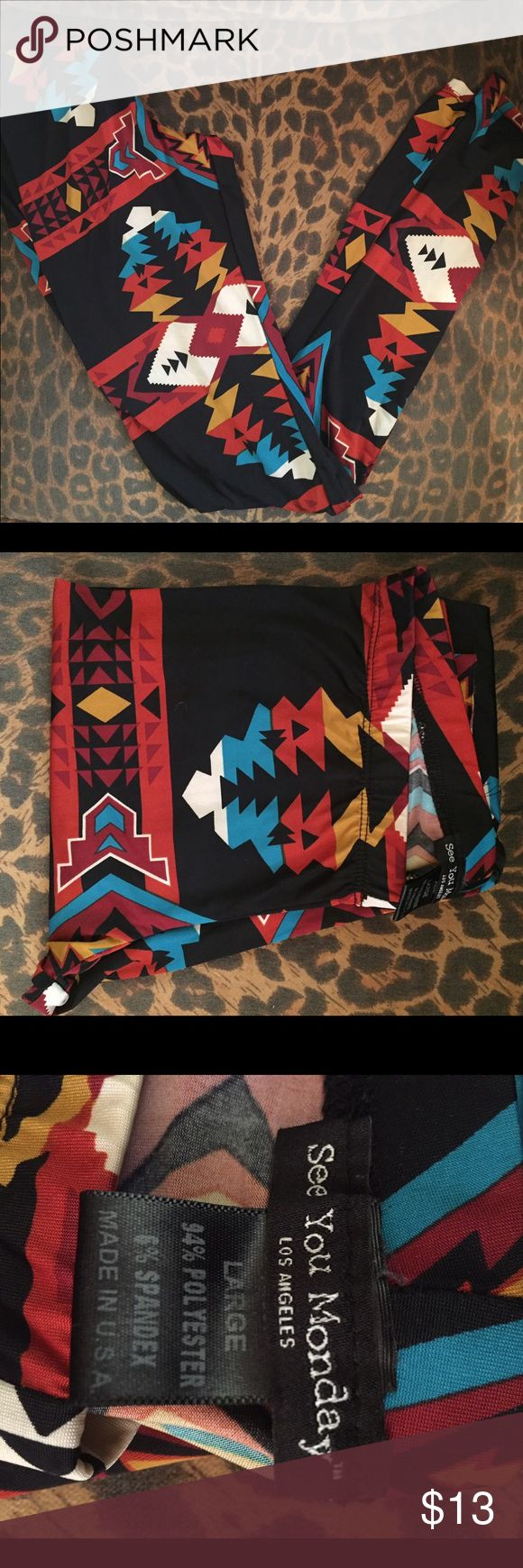 Aztec Tights These Aztec tights are ankle length! They have black, red, turquoise, orange and white in the designs! They will look adorable with any colored flowy top!! see you monday Pants Leggings