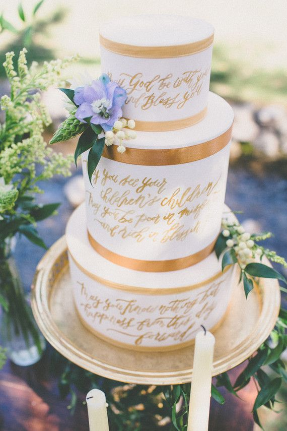 Gold calligraphy wedding cake | Wedding & Party Ideas | 100 Layer Cake