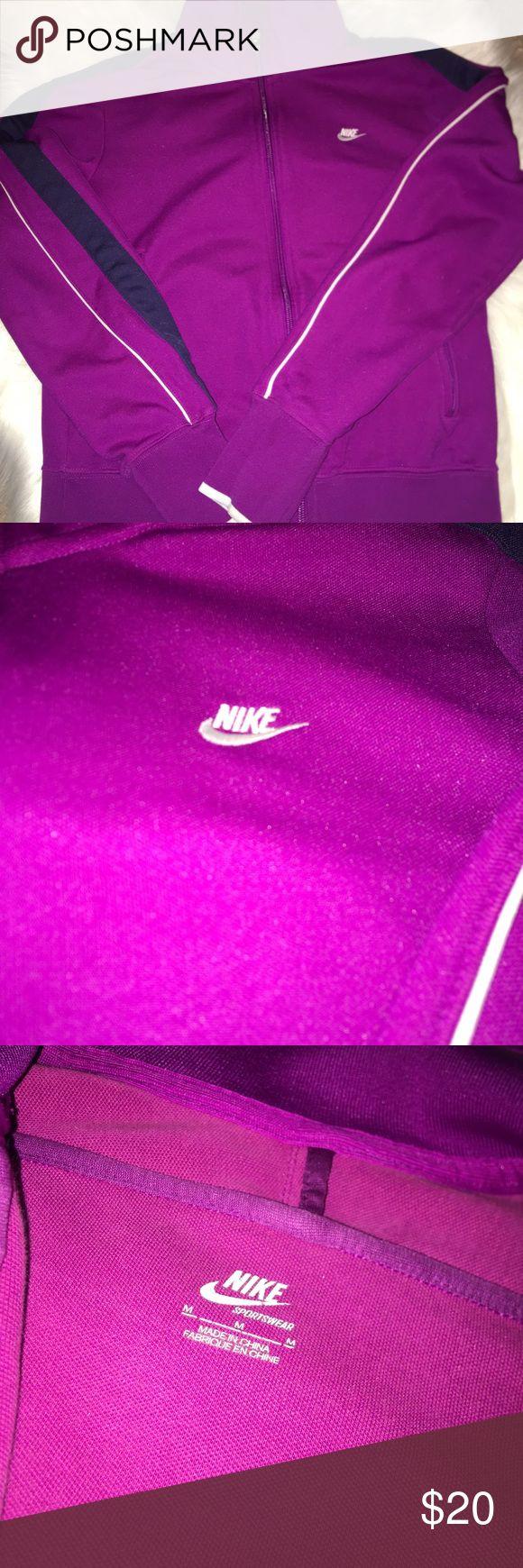 Nike jacket zip up size M Nike women's purple zip up jacket size medium with 2 side zip up pockets Nike Tops Sweatshirts & Hoodies