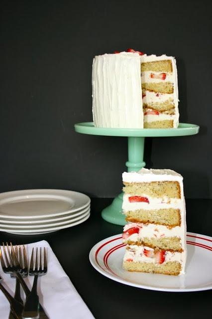 Strawberries & White Chocolate Poppy Seed Cake