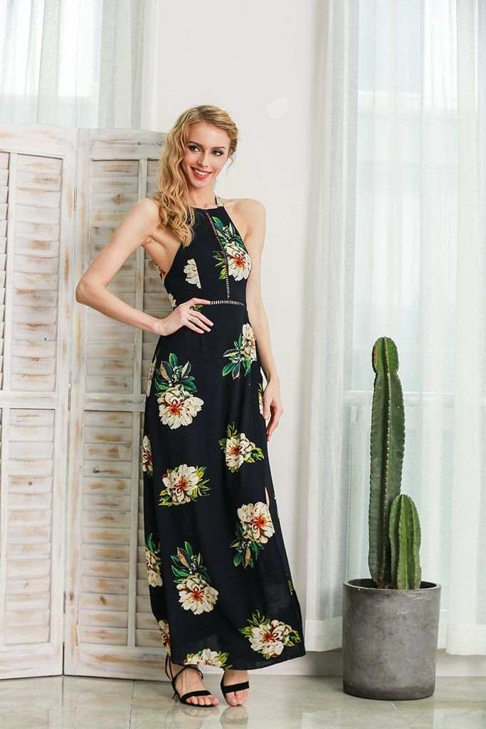 Floral Tank Style Dress with Side Slit