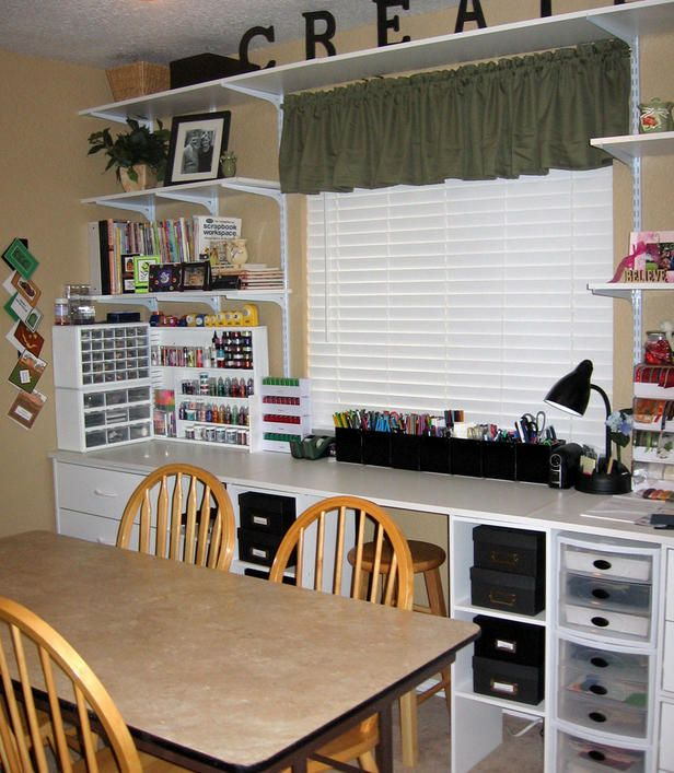 craft room, I like the cube storage under the countertop to put those little drawers in. The CREATE on the top shelf is cute too!