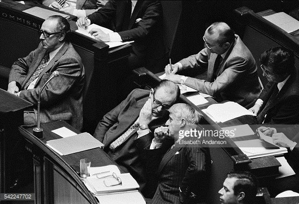 Photo d'actualité : French Prime Minister Raymond Barre listens to...