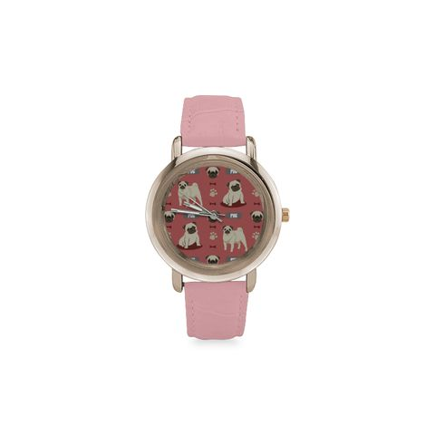 Pug Pattern Women's Rose Gold Leather Strap Watch