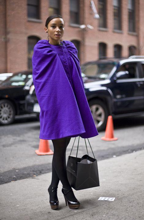 Purple Puffy Cape, NYC | Street Fashion | Street Peeper | Global Street Fashion and Street Style