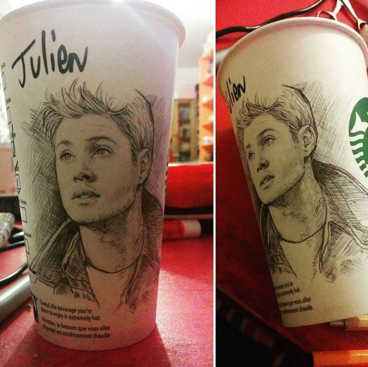 Dean Winchester, on a Starbucks Café cup. (Ballpoint pen, Copic markers + pencil).