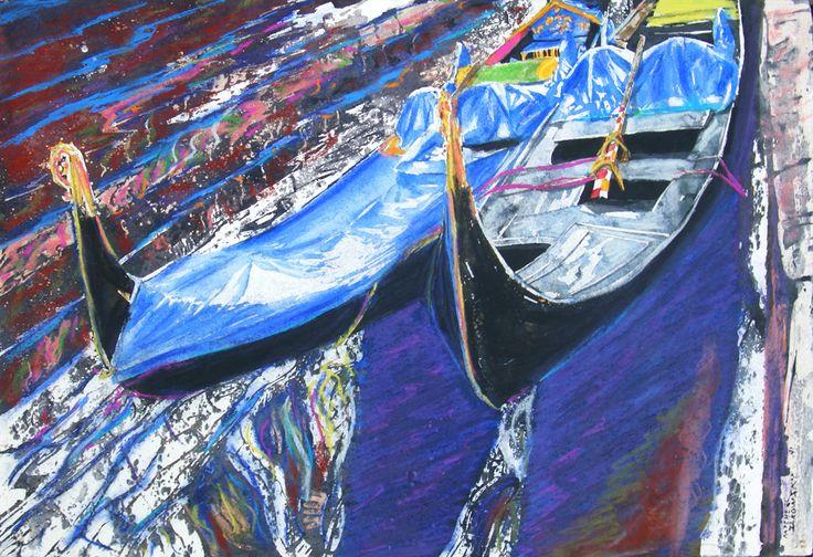 """gondolas riva schiavone venice 13"""" x 19"""" micheal zarowsky / watercolour on arches paper / available $600.00"""