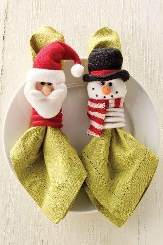 Santa and Snowman Napkin Rings Decoración navideña Tiempo de Amor y Paz, JACQUELINE