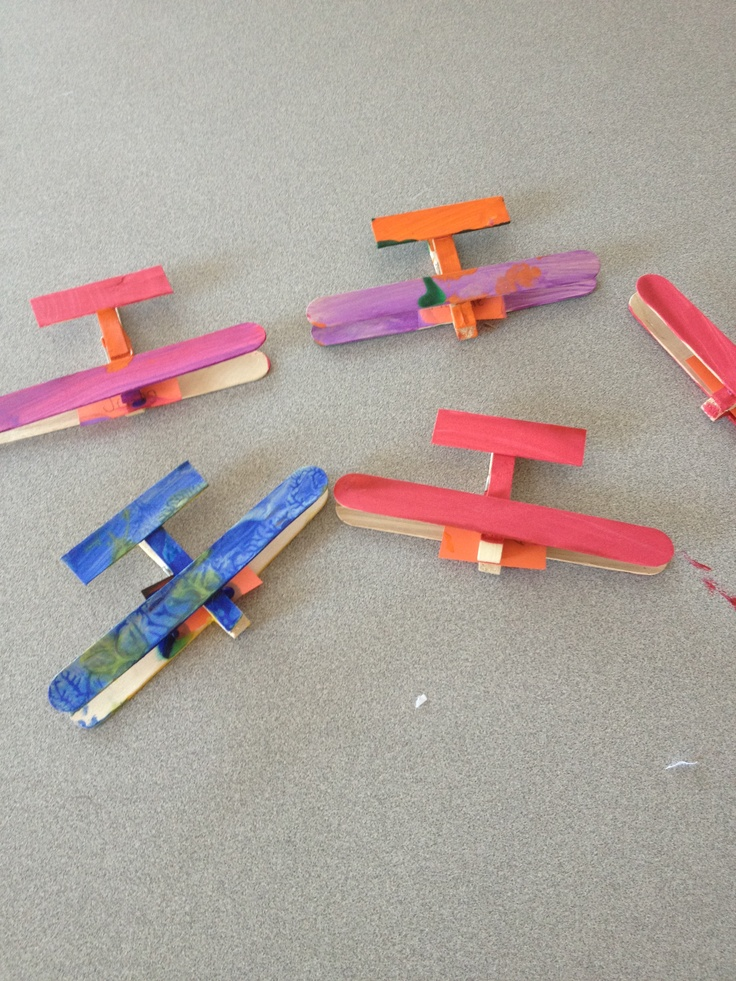 Airport Unit: I put together airplanes (made from craft sticks) and the children painted them for our 3D art.
