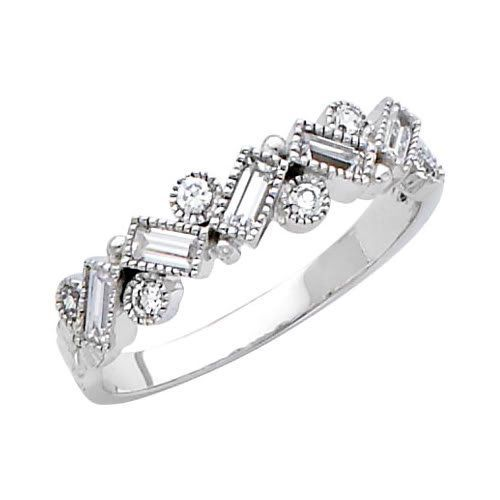 14K White Gold Round-cut CZ Cubic Zirconia Fancy Ring Band Goldenmine. $198.00. Completely redesigned and revamped for the year 2012. Made using the highest grade of Cubic Zirconia stones available on the market.. Promptly Packaged with Free Shipping and Free Gift Box... Perfect for Gift Giving. Manufactured using up-to-date manufacturing techniques ensuring the highest quality and value. This item features a high polish finish for Excellent sparkle and pop